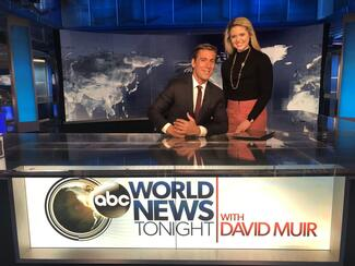 Tara Lynch '22 on the set of ABC World News Tonight with anchor David Muir '95
