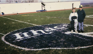 Kevin and Mark on the 50-yard line at Butterfield Stadium.