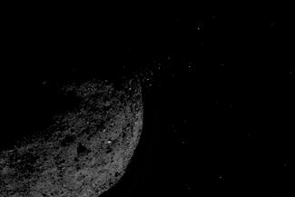 Black-and-white photo of an asteroid