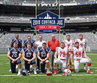 Ithaca and Cortland players and coaches