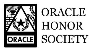 The Oracle Honor Society Logo, featuring a five-pointed star and laurel wreath within a triangle. To the left of the triangle is a lamp resting on a wall, and to the right is olive branches.