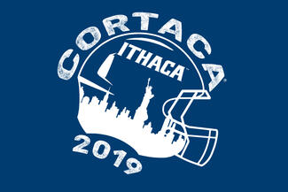 "Illustration of a football helmet with a city skyline and ""Ithaca"" on the side"