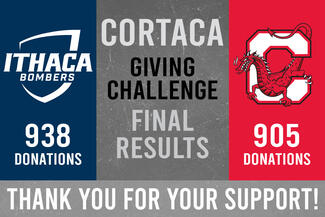 graphic showing Ithaca College had more donors than Cortland