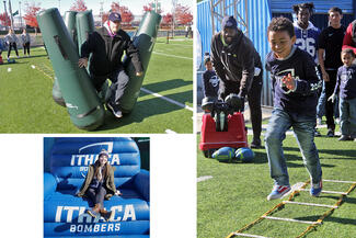 Photos of young people running on a field and one young woman sitting in a big blue chair