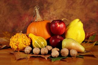 fall harvest fruits and nuts