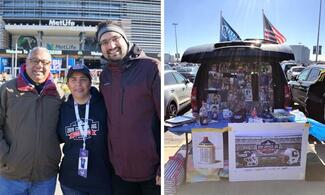 Two images in one unit. The image on the left shows the college president standing with a father and son. The image on the right shows an open tailgate with photos and other sentimental items