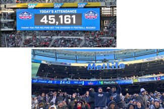 "A stadium sign reading ""45,161"" and fans cheering"