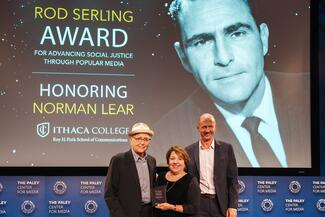 Norman Lear, Dean Gayeski, and Michel Royce '86 at the award ceremony