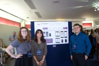Students present their work on a self-help app.