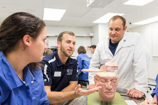 Two students and a faculty member examine a model of the human brain