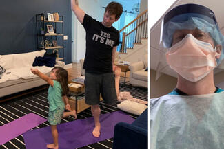 photo collage of man and daughter doing yoga and man in medical gear