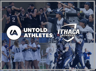 Graphic of Untold Athletes and Ithaca College over collage of athletic photos