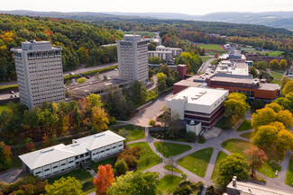 aerial of campus with towers