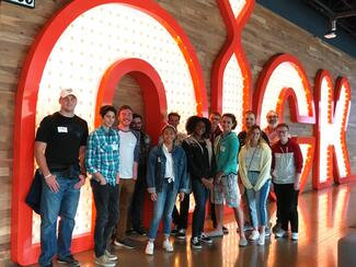 Summer students take a tour of the Nickelodeon studios.