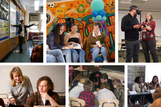 collage of teaching photos