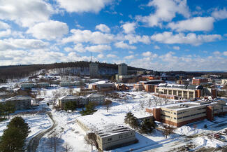 aerial photo of campus during winter