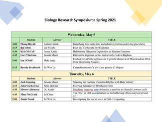 dates and schedule for the presentations