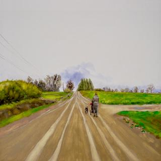 Oil panting of a woman pushing a stroller and walking a dog down a long, empty road lined with power lines in green country, approaching an intersection.