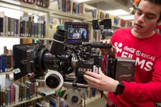 Student with an RED camera