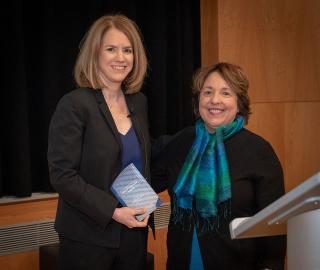 Laura Zelenko and Dean Diane Gayeski with an award