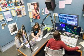 students working on WICB-FM radio