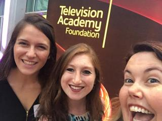 Professor Chrissy Guest with student interns at TV Academy