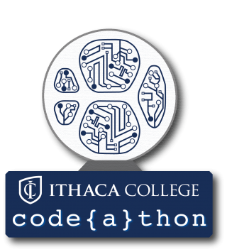 Ithaca College codeathon logo with the Textor ball