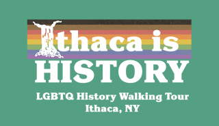 Ithaca is History in white letters on Philadelphia Pride, with green background