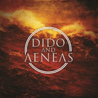 Graphic for production, white circle around Dido Aeneas (Title) in white text, background sepia image of rough ocean waves