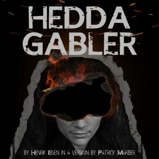 """Hedda Gabler"" production graphic. Grayscale headshot of woman burning against black background."