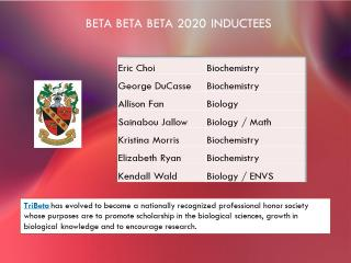 Names of 2020 biology and biochemistry inductees, along with the description of the chapter.