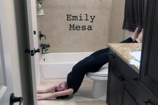 Emily Mesa dancing in her bathroom