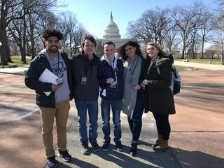 group of journalism students reporting on the 2018 March For Our Lives