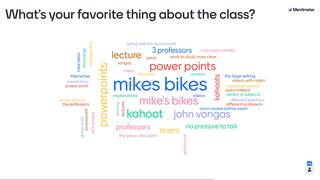 A word cloud generated from the World of Business class with large and small words. Professor Vongas' name is included which means he's one of the students' favorite things about class.