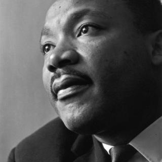 Closeup view of Martin Luther King Jr.'s face.