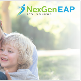 father and son hugging with NexGen Eap text