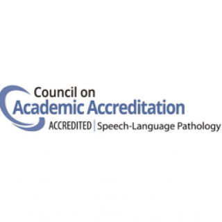 This is the logo for the Council on Academic Accreditation in Audiology and Speech-Language Pathology. It has a small circle next to the words.