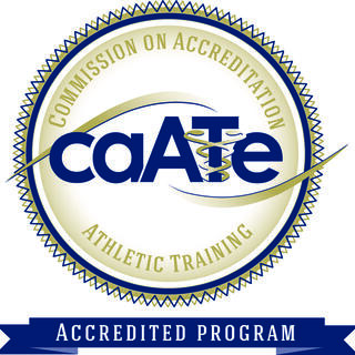 "This is the logo for the Commission on Accreditation of Athletic Training Education. It is a seal that bears this name and also a blue banner which reads ""accredited program."""