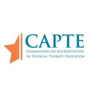 This is the logo for the Commission on Accreditation in Physical Therapy Education. It has the letters C, A, P, T, and E next to an orange star.