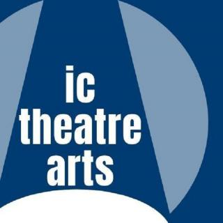 IC Theatre Arts logo: blue and white background, white lettering.