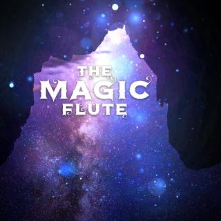 "Opera title ""The Magic Flute"" against background of starry night"
