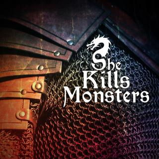 "Play title ""She Kills Monsters"" against background of armor and chain mail"