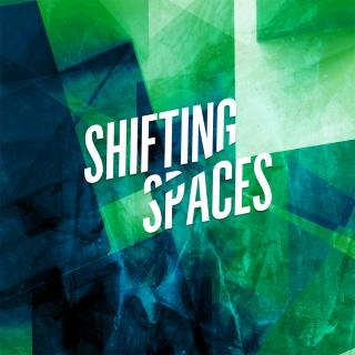 "Title of production, ""Shifting Spaces, against teal and green background"