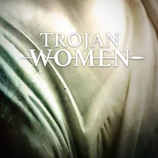 "Play title, ""Trojan Women"" against variation of beige and grey."