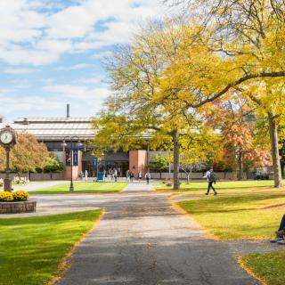 students on an academic quad