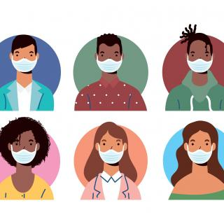 6 cartoon people of varying races wearing face masks